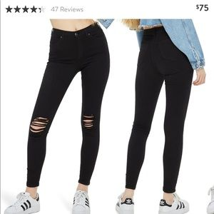 TOPSHOP HIGHWAISTED RIPPED BLACK JEANS